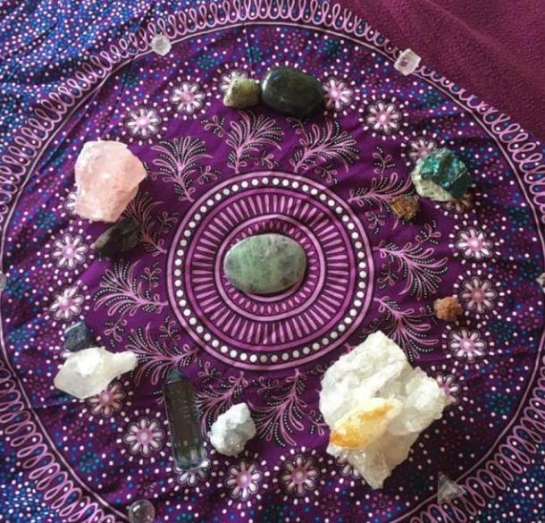 A collection of healing crystals.