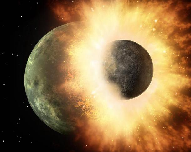 Artist's depiction of a collision between two planetary bodies.