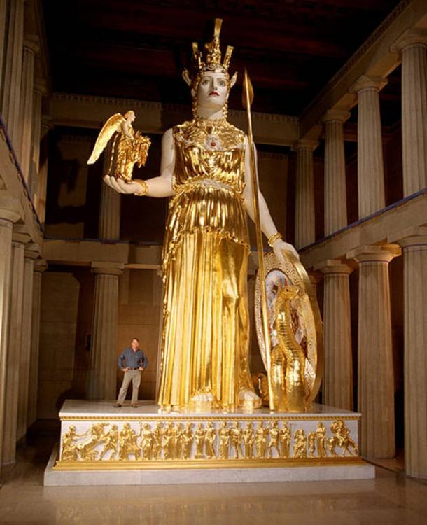 A recreation in modern materials of the lost colossal statue by Pheidias, Athena Parthenos by Alan LeQuire (1990) is housed in a full-scale replica of the Parthenon in Nashville's Centennial Park. She is the largest indoor sculpture in the western world.