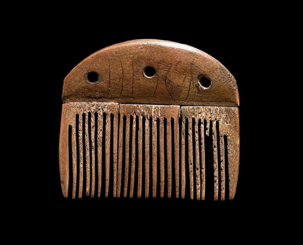 "A comb made of antler from around 150 to 200 CE and was found in Vimose on the island of Funen, Denmark. The Elder Futhark inscription reads ""Harja"", a male name."