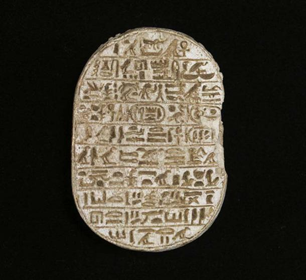 """A commemorative scarab of Amenhotep III. This scarab belongs to a class called the """"marriage scarabs,"""" which affirm the divine power of the king and the legitimacy of his wife, Tiye. Walters Art Museum, Baltimore."""