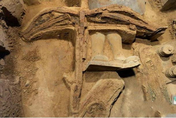 The most complete ancient crossbow to date was discovered in the terracotta army pit one in Xi'an, Shaanxi province.