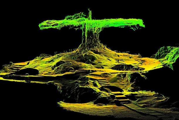 This composite 3D laser scan data image shows staircases and artifacts (primarily incense burners carved in the image of the goggle-eyed rain deity Tlaloc) surrounding the great limestone column of Balankanché stretching from floor to ceiling and very much resembling the ancient Maya conception of the World Tree (Wacah Chan).