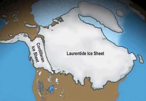 The conjoined ice sheets from the Rockies (the Cordillera ice sheet) and eastern Canada (the Laurentide ice sheet) blocked Alaska.