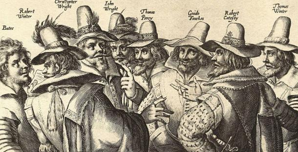 A contemporary engraving of eight of the thirteen conspirators, by Crispijn van de Passe. Fawkes is third from the right.