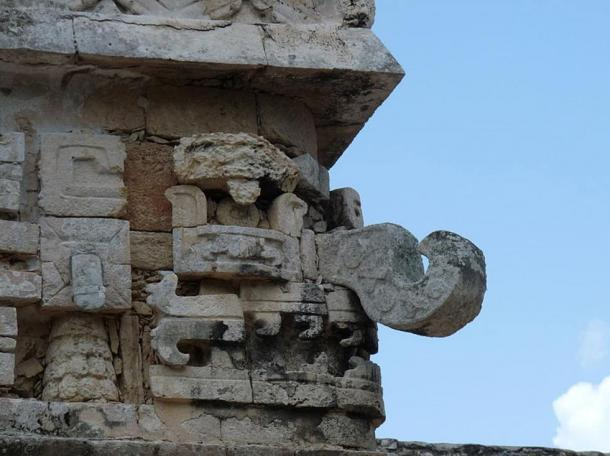 A corner sculpture of Chac, Chichen Itza, Mexico.