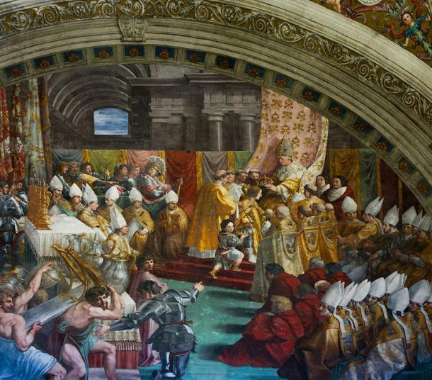 The coronation of Charlemagne by Raphael, c 1515,