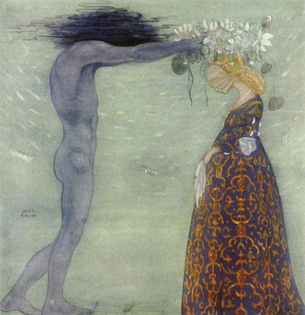"""Coronation of the Sea Queen: """"Now you shall be my queen & stay with me forever."""" Illustration by John Bauer."""