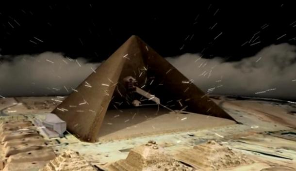 A depiction of cosmic particles passing through a pyramid.