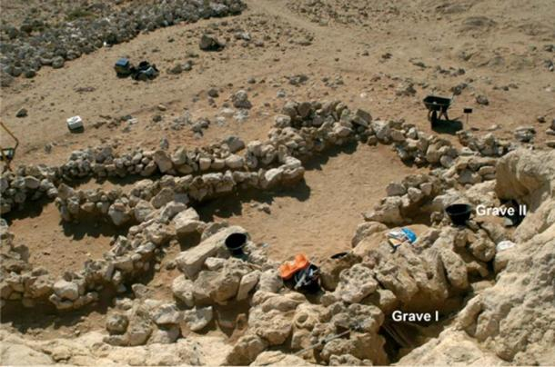 Overview of a couple of the graves at Jebel Buhais in Sharjah during excavations.