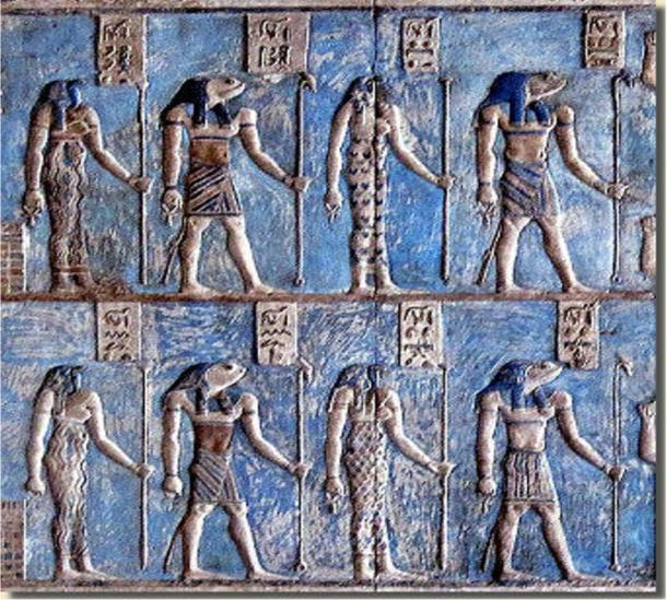 Detail, Relief in the temple of Hathor at Dendera showing the four couples of the Ogdoad of Hermopolis.