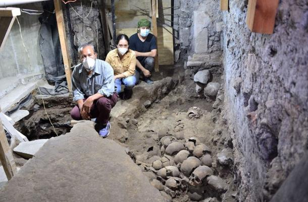 The archaeologists found the crania of men, women, and children in the tower of skulls