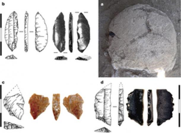 a. cranium as found in situ, with obsidian bladelet found embedded in the left parietal bone. b, Detail of obsidian bladelet, showing impact scar at the tip. c, d, Microliths found within the body.