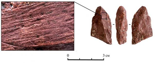 The crayon was used to make reddish brown marks. (SBRAS Institute of Archeology and Ethnography)