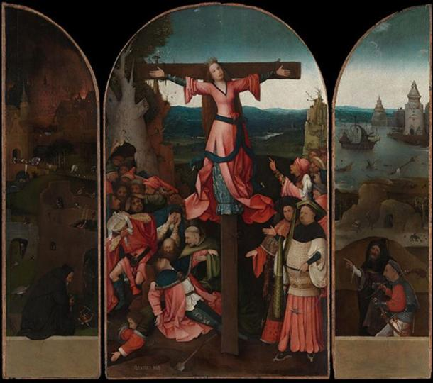 Triptych showing the crucifixion of Saint Julia.