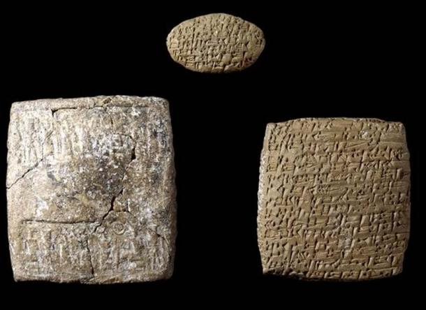 A cuneiform letter, copied on two pieces of clay, and its envelope, which were found at Kültepe. They record a complaint between two brothers about the family's lack of food or clothes in Assur while the other brother was trading textiles and tin for silver and gold at Karum Kanesh. Photo: British Museum.
