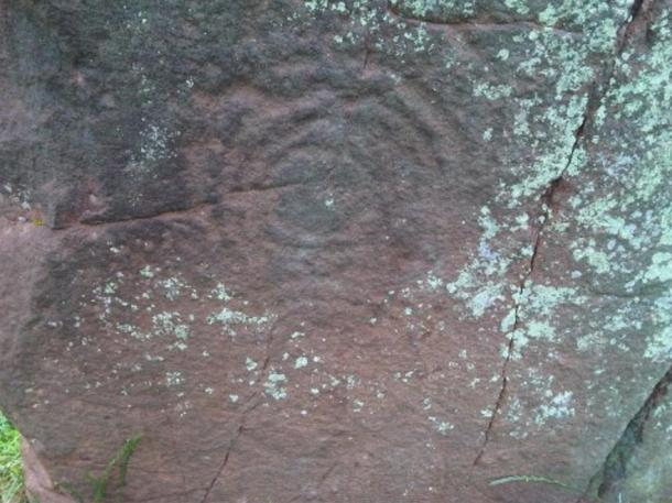 "Image of one of three ""cup and ring"" markings on the Long Meg Bronze Age standing stone."