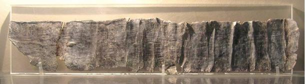 A curse tablet from Pella, Cemetery of Agora, now at the Museum of Pella.