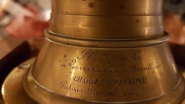 The daguerrian lens is signed by Charles Chevalier, dated 1834. (Image: Courtesy Micki Pistorius)