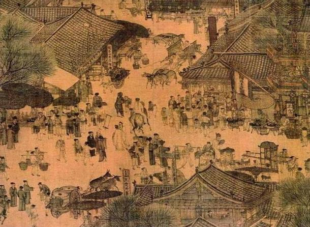 """Close-up of daily life in Kaifeng from """"Along the River During the Qingming Festival."""" (12th Century)"""