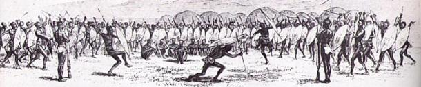 "A muster and dance at Shaka's kraal. (1827) To an extent Shaka continues to receive the traditional Zulu reverence towards a dead monarch, as in a praise song in which he has been called ""Shaka the Unshakeable."""