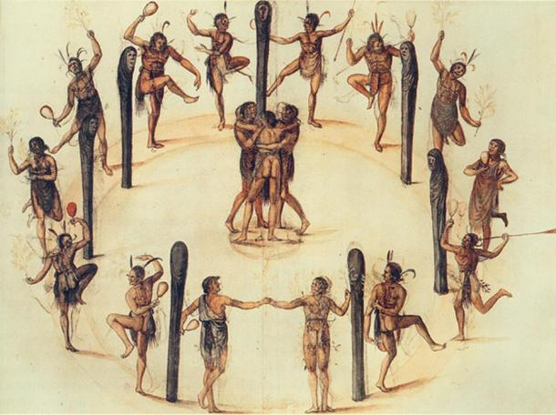 A watercolor painting by John White of natives dancing in North Carolina, 1585
