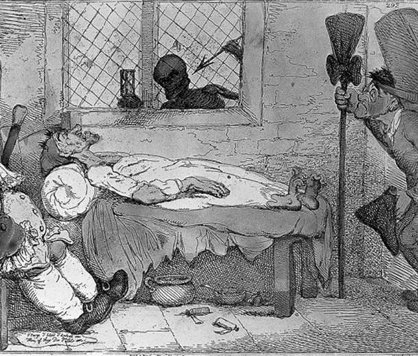 Patient's death-bed.