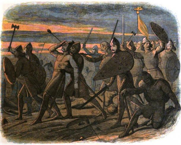 The death of Harold Godwinson at the Battle of Hastings. Illustration, 1864.