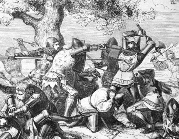 19th century illustration of the death of Robert Bemborough during the combat of the thirty, 1351; Breton of Succession by Paul Philippoteaux (Public Domain)