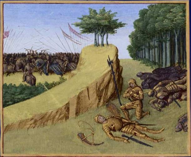The death of Roland by Jean Fouquet (ca. 1455-1460).