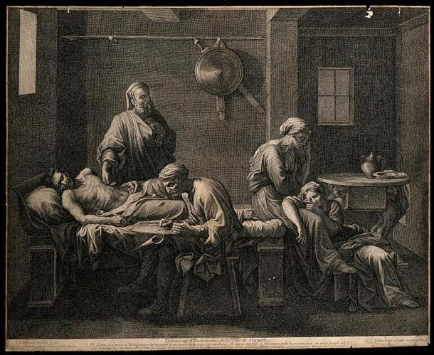 The death of Sophocles, in an engraving by S. Pomarede from 1748