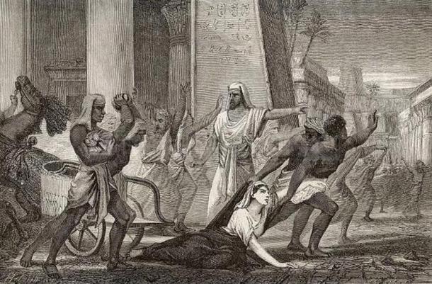 """""""Death of the philosopher Hypatia, in Alexandria"""" from Vies des savants illustres, depuis l'antiquité jusqu'au dix-neuvième siècle, 1866, by Louis Figuier."""