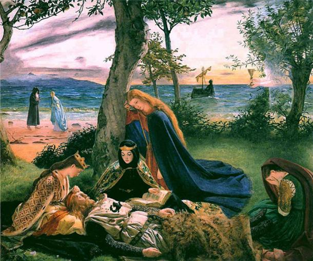 The deceased King Arthur before being taken to the Isle of Avalon