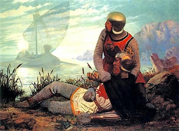The death of Arthur depicted here and in Arthurian legend. A boat arrives to take the dying Arthur to Avalon after the Battle of Camlann. (Shuishouyue / Public Domain)