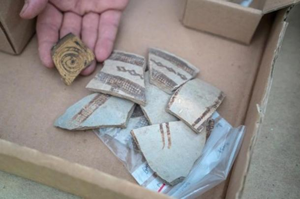 Fragments of decorated pottery vessels imported from Cyprus and Greece 3,400 years ago.