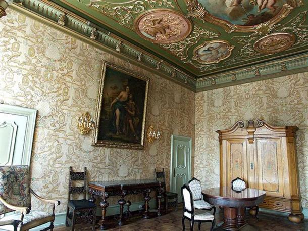 A decorated room inside Książ Castle.
