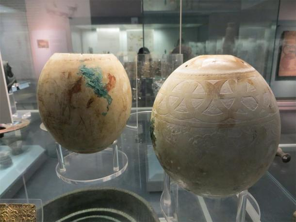 Two of the decorative ostrich eggs from the Isis tomb on show in the British Museum. (Tamar Hodos et al. / Antiquity Publications Ltd)