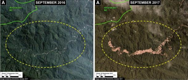 These images show how illegal gold mining causes deforestation in the buffer zone of the Amarakaeri Communal Reserve. (SERNANP / Monitoring of the Andean Amazon Project)