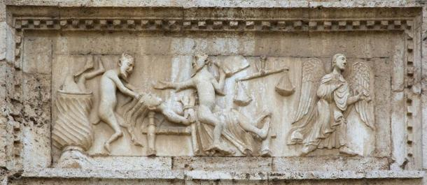 Angels and demons, from the facade of Saint Peter church, Spoleto, Italy, both featured in stories found in recently translated ancient Christian texts, apocryphal texts. (Silvio / Adobe Stock)