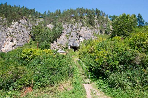 View from outside the Denisova Cave.