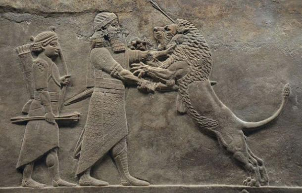 Sculpted reliefs depicting Ashurbanipal, the last great Assyrian king, hunting lions, gypsum hall relief from the North Palace of Nineveh