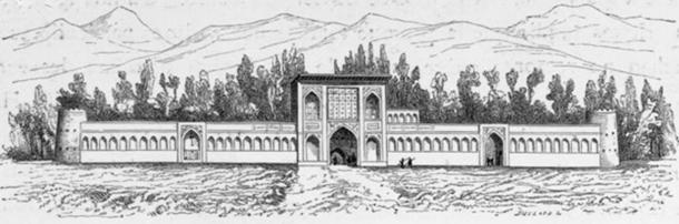 1840 depiction by Pascal Coste of the Kiosque Bagh Shah Fin.