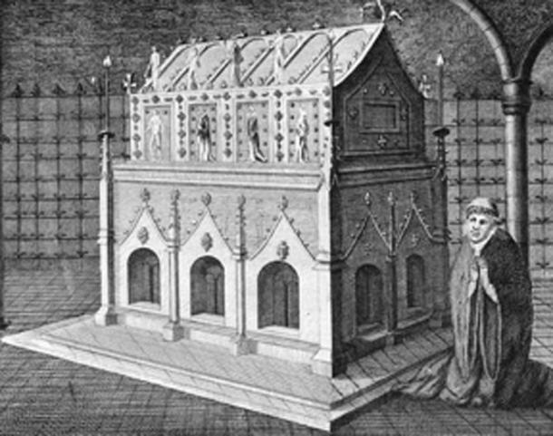 A depiction of Edmund's shrine. (Public Domain)