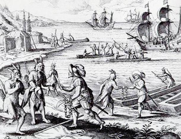 A fanciful depiction of John Guy's 1612 encounter with the Beothuk in Trinity Bay. From Theodor de Bry, 'America (Historia Americæ sive Novi Orbis),' pt. XIII, German, edited by Matthaeus Merian. (Frankfurt: Caspar Rðtel, 1628, 1634)