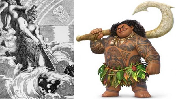 Left: A more traditional depiction of Maui. Right: The Disney version of Maui.