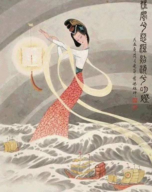 A depiction of Mazu who fell into a trance and saved her father and brothers from drowning who were caught in a terrible storm at sea.