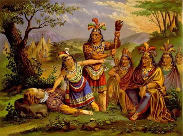 Artist's depiction of Pocahontas saving the life of Capt. John Smith. (1870)