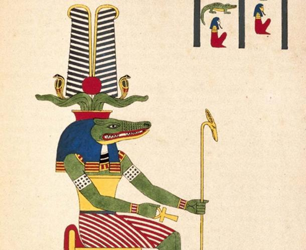 Detail of a depiction of Sobek, the ancient Egyptian crocodile god.