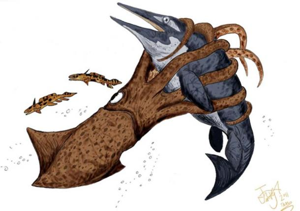 Artist's depiction of a Kraken attacking an ichthyosaur.