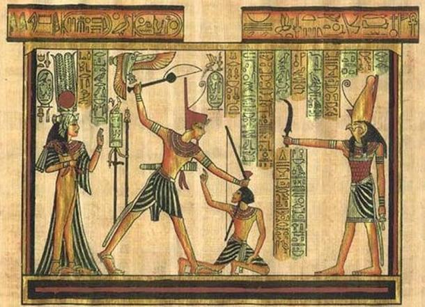 A depiction of a pharaoh delivering punishment.